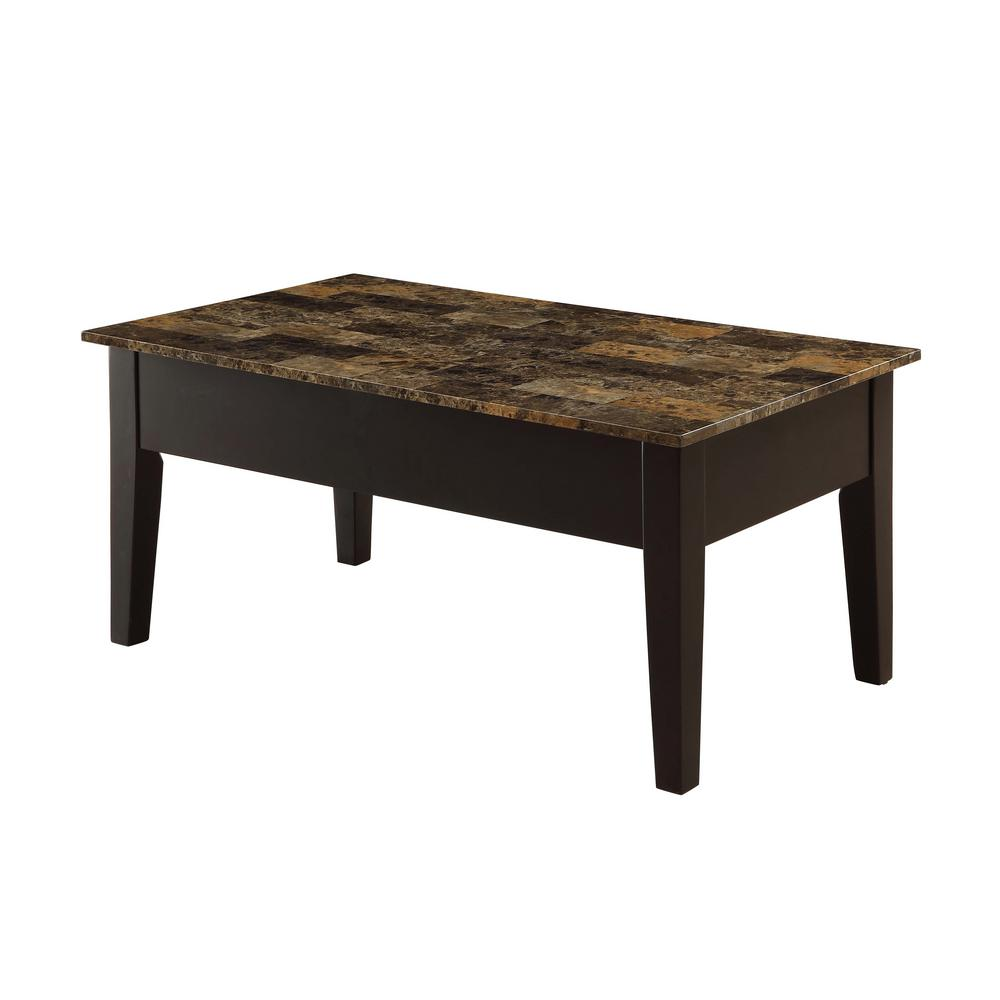 Dusty II Dark Brown Faux Marble and Black Coffee Table with