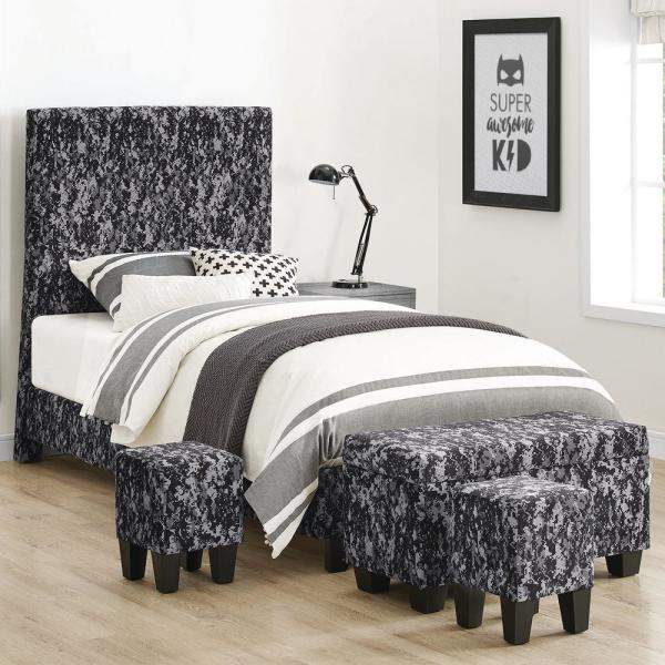 undefined Jett Upholstered Platform Gray Bed with Ottoman Set
