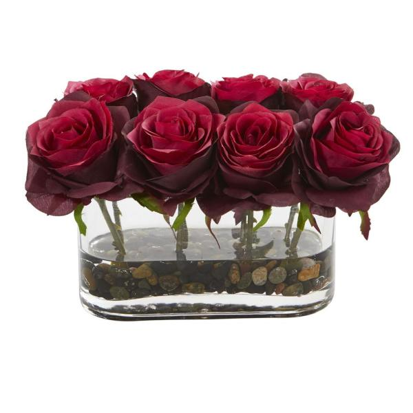 Nearly Natural 5.5 in. High Burgundy Roses Blooming Roses in Glass Vase Artificial Arrangement