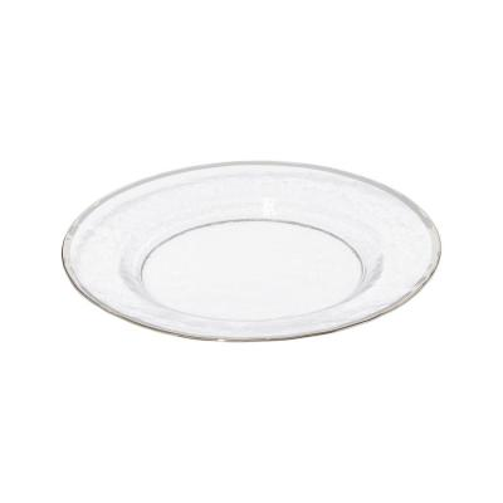 Metallic Silver Rim Glass Clear Salad Plate (Set of 4)