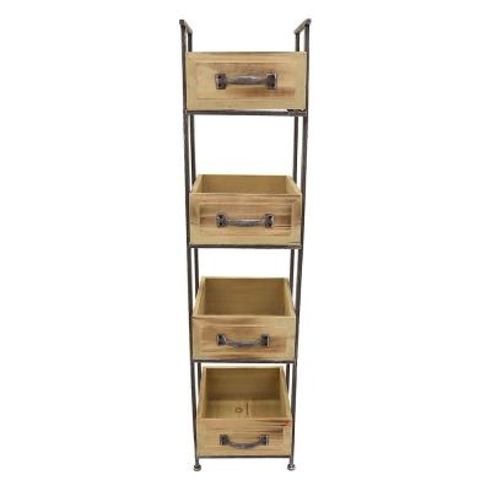 10.5 in. x 10.5 in. Wood and Metal Storage Rack 4-Tier in Brown