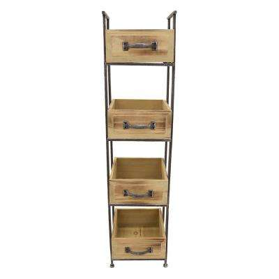 10.5 in. x 10.5 in. Wood and Metal Storage Rack 4-Tier in Brown