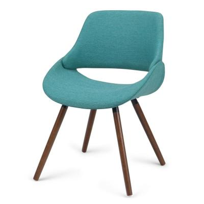 Simpli Home Malden Mid Century Turquoise Blue Woven Fabric Modern Bentwood Dining Chair