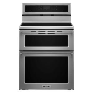 Click here to buy KitchenAid 30 inch 6.7 cu. ft. Double Oven Electric Induction Range with Self-Cleaning Convection Oven in Stainless Steel by KitchenAid.
