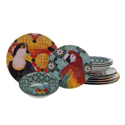 Paradise 12-Piece Multicolor Dinnerware Set