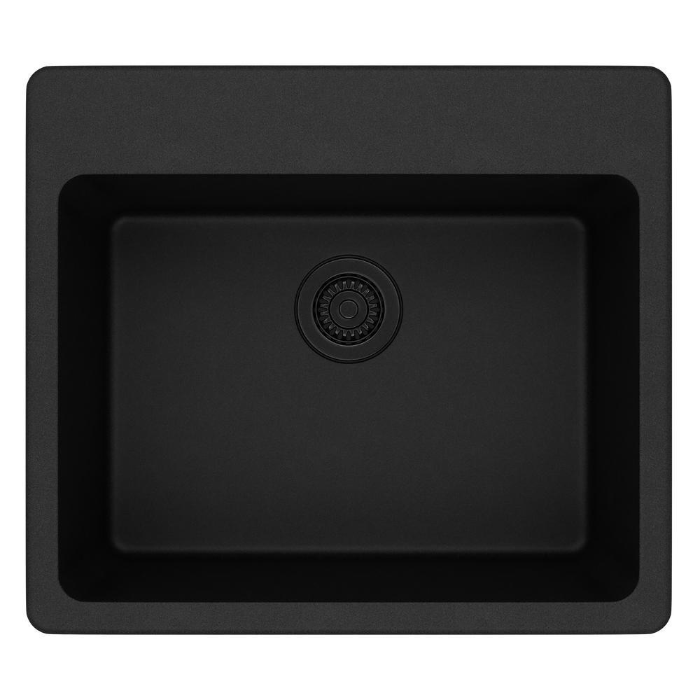 Quartz Classic Drop-in Composite 25 in. Single Bowl Kitchen Sink in Black