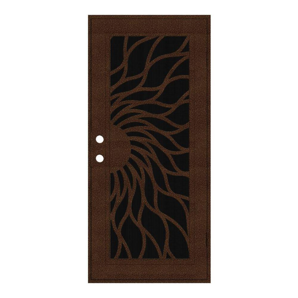 Unique Home Designs 30 in. x 80 in. Sunfire Copperclad Right-Hand Recessed Mount Aluminum Security Door with Charcoal Insect Screen
