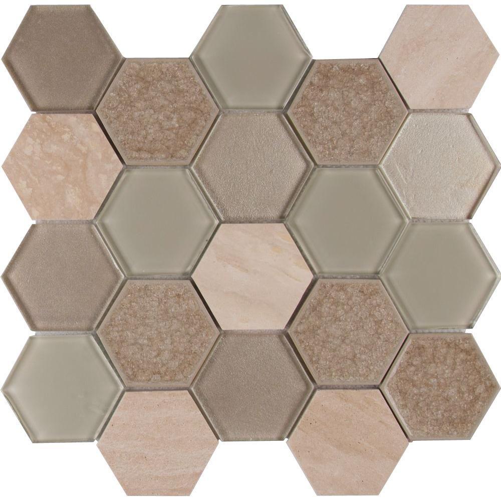 Monterra Blend Hexagon 12 In X 8 Mm Gl Stone Mesh