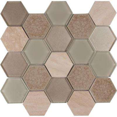 Monterra Blend Hexagon 12 in. x 12 in. x 8mm Glass Stone Mesh-Mounted Mosaic Tile (10 sq. ft. / case)