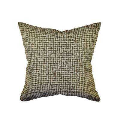 Brown Houndstooth Woven Throw Pillow