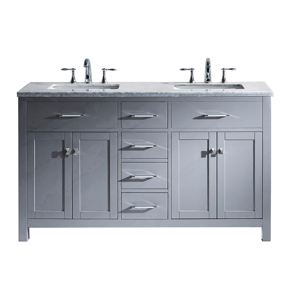 Virtu USA Caroline 60 in. W Bath Vanity in Gray with Marble Vanity Top in White with Square Basin