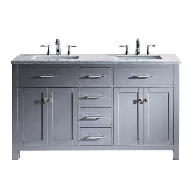 Caroline 60 in. W Bath Vanity in Gray with Marble Vanity Top in White with Square Basin
