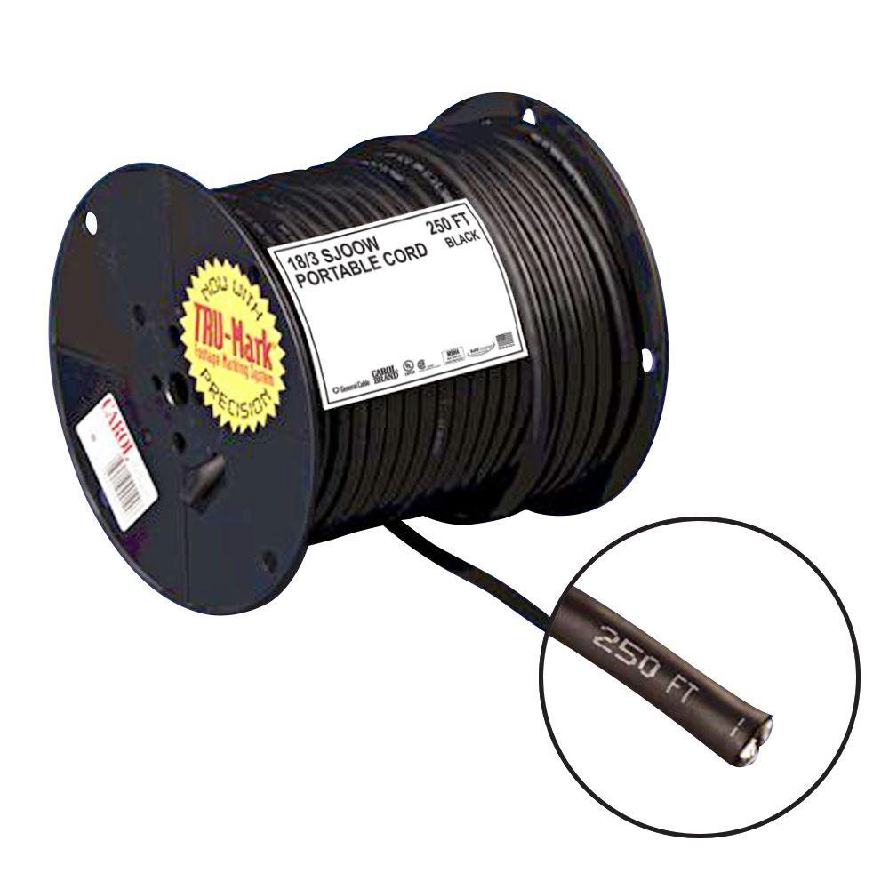 250 ft. 18/3 Black Portable Power SJOOW Electrical Cord