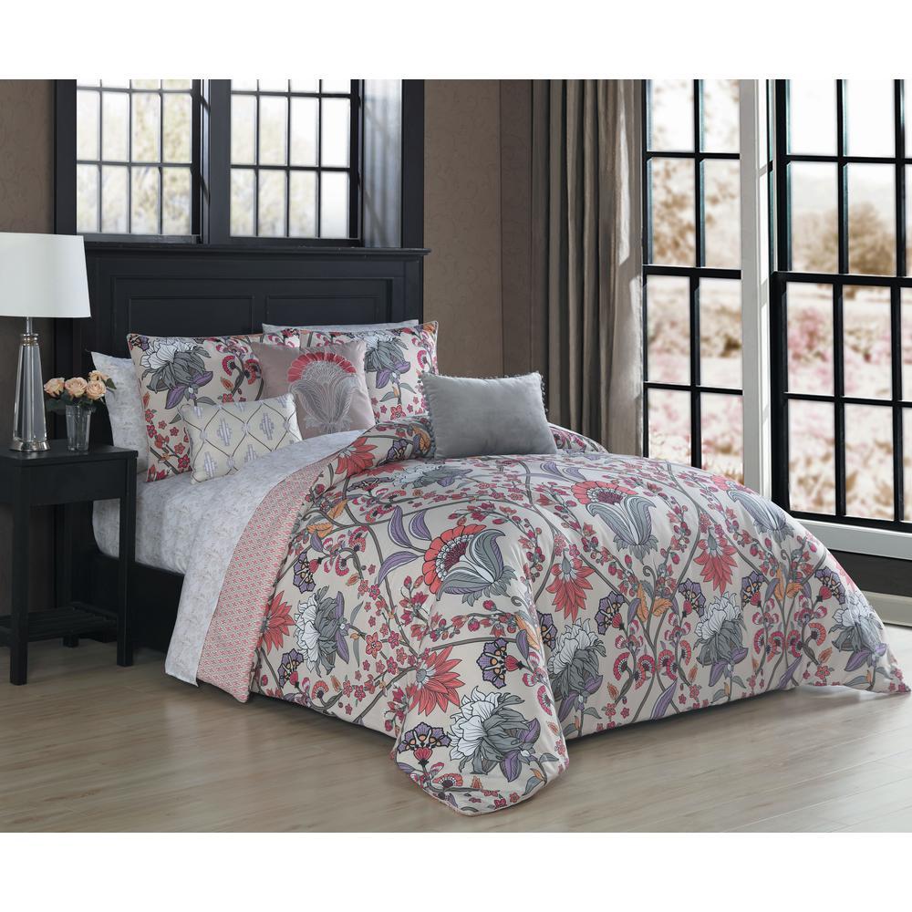 Roya 10-Piece Taupe/Coral Queen Comforter Set