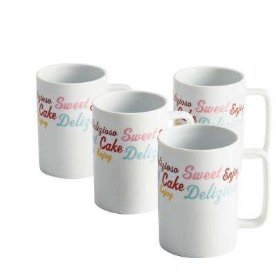 Serveware 4-Piece Porcelain Mug Set with Icing and Quotes Pattern Print