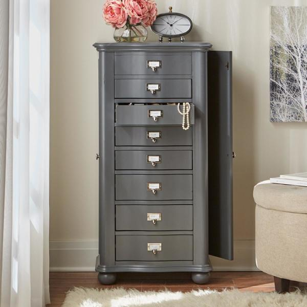 Home Decorators Collection Aimes 8 Drawer Jewelry Armoire In Graphic Charcoal 8189100270 The Home Depot