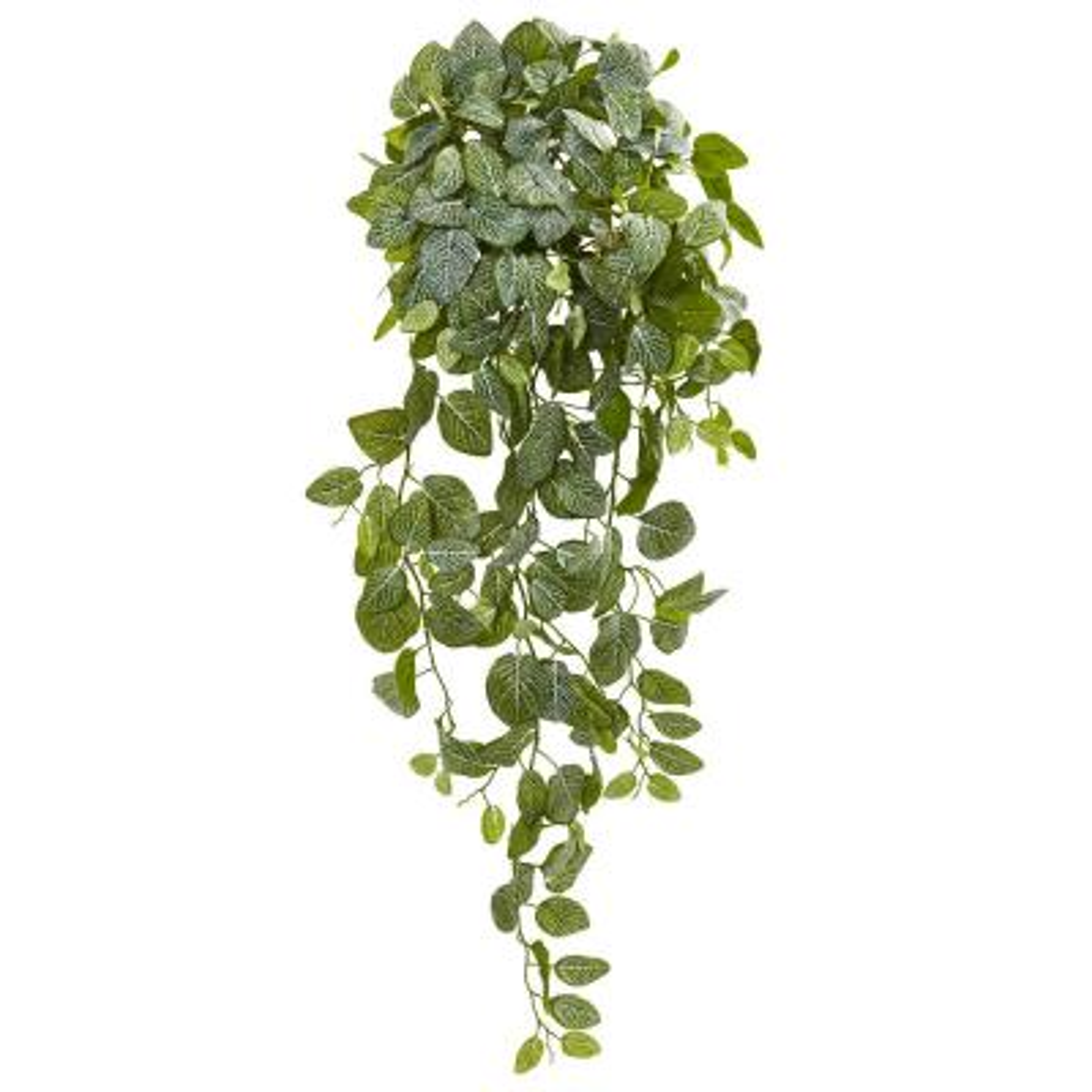 Indoor 36 Fittonia Hanging Bush Artificial Plant (Set of 2)