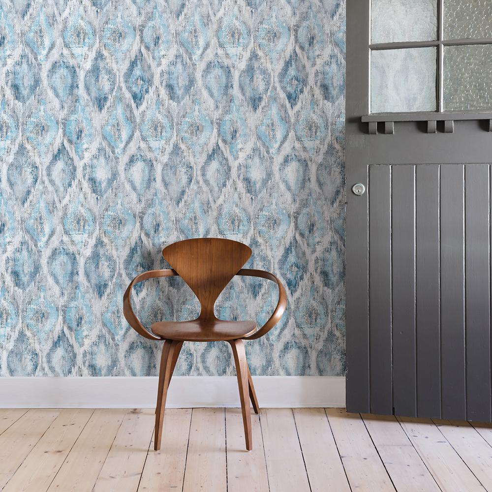 57.8 sq. ft. Gilboa Blue Ikat Wallpaper