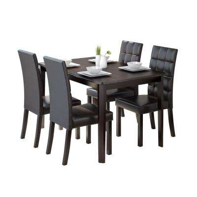 Atwood 5 Piece Dining Set With Dark Brown Leatherette Seats