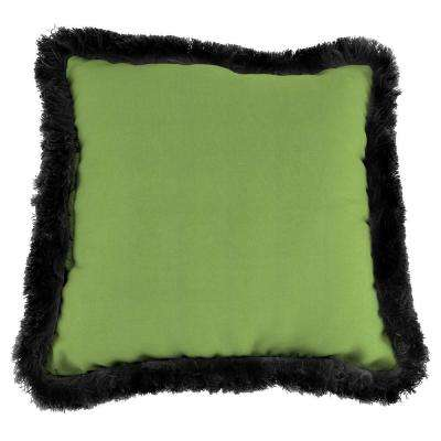Sunbrella Canvas Gingko Square Outdoor Throw Pillow with Black Fringe
