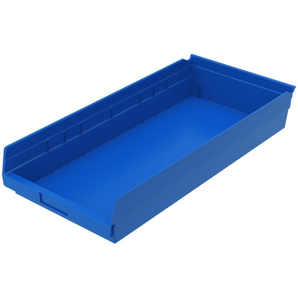 Shelf Bin 20 lbs. 23-5/8 in. x 11-1/8 in. x 4 in. Storage Tote in Blue with 2.5 Gal. Storage Capacity