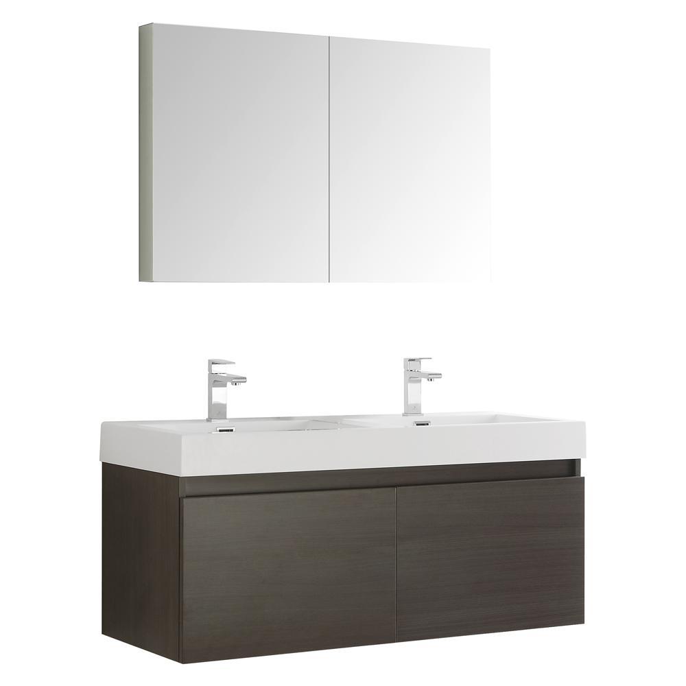 Mezzo 48 in. Vanity in Gray Oak with Acrylic Vanity Top
