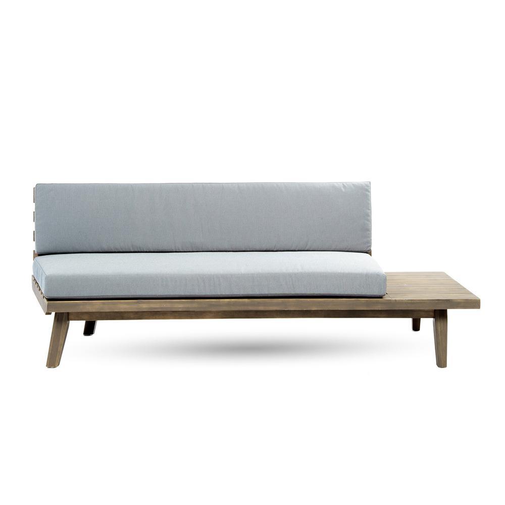 Reginald Grey Wood Outdoor Right Sided Sofa with Grey Cushion