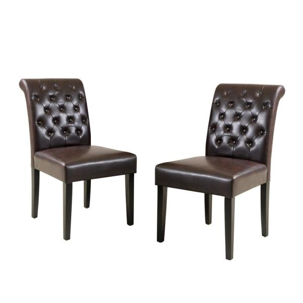 Palermo Brown Leather Tufted Dining Chairs (Set of 2)