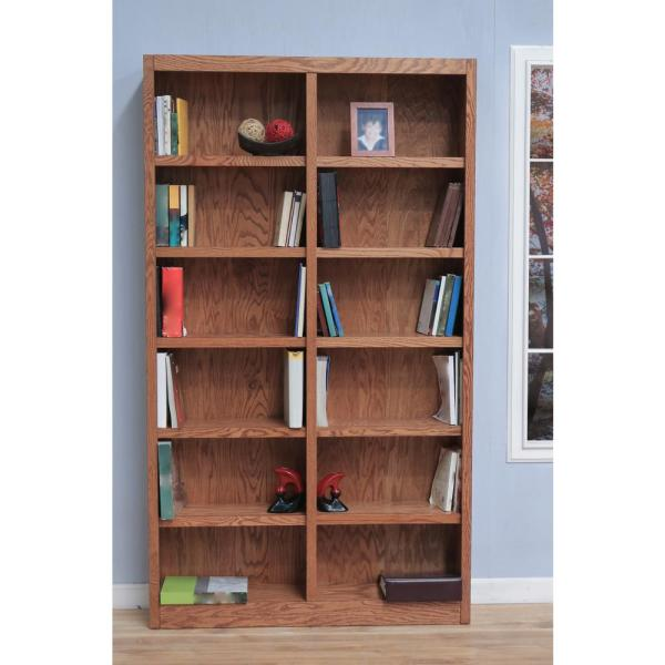 Concepts In Wood 84 In Dry Oak Wood 12 Shelf Standard Bookcase
