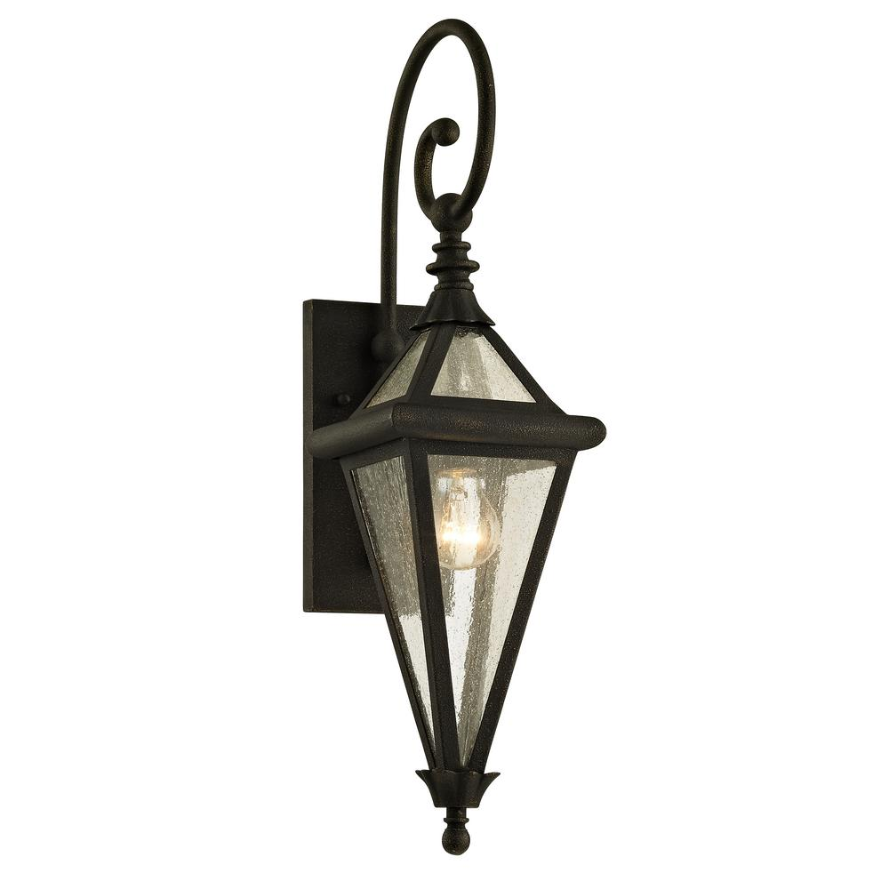 Troy Lighting Geneva 1-Light Vintage Bronze 23.5 in. H Outdoor Wall Lantern Sconce with Clear Seeded Glass