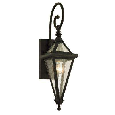 Geneva 1-Light Vintage Bronze 23.5 in. H Outdoor Wall Lantern Sconce with Clear Seeded Glass