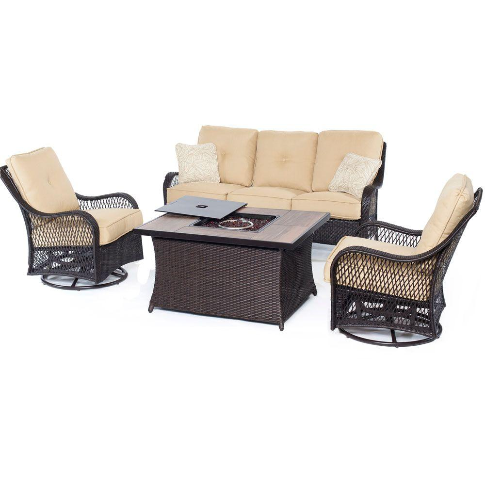 Hanover Orleans 4 Piece All Weather Wicker Patio Fire Pit Seating Set With Sahara Sand Cushions Orleans4pcfp Tan A The Home Depot
