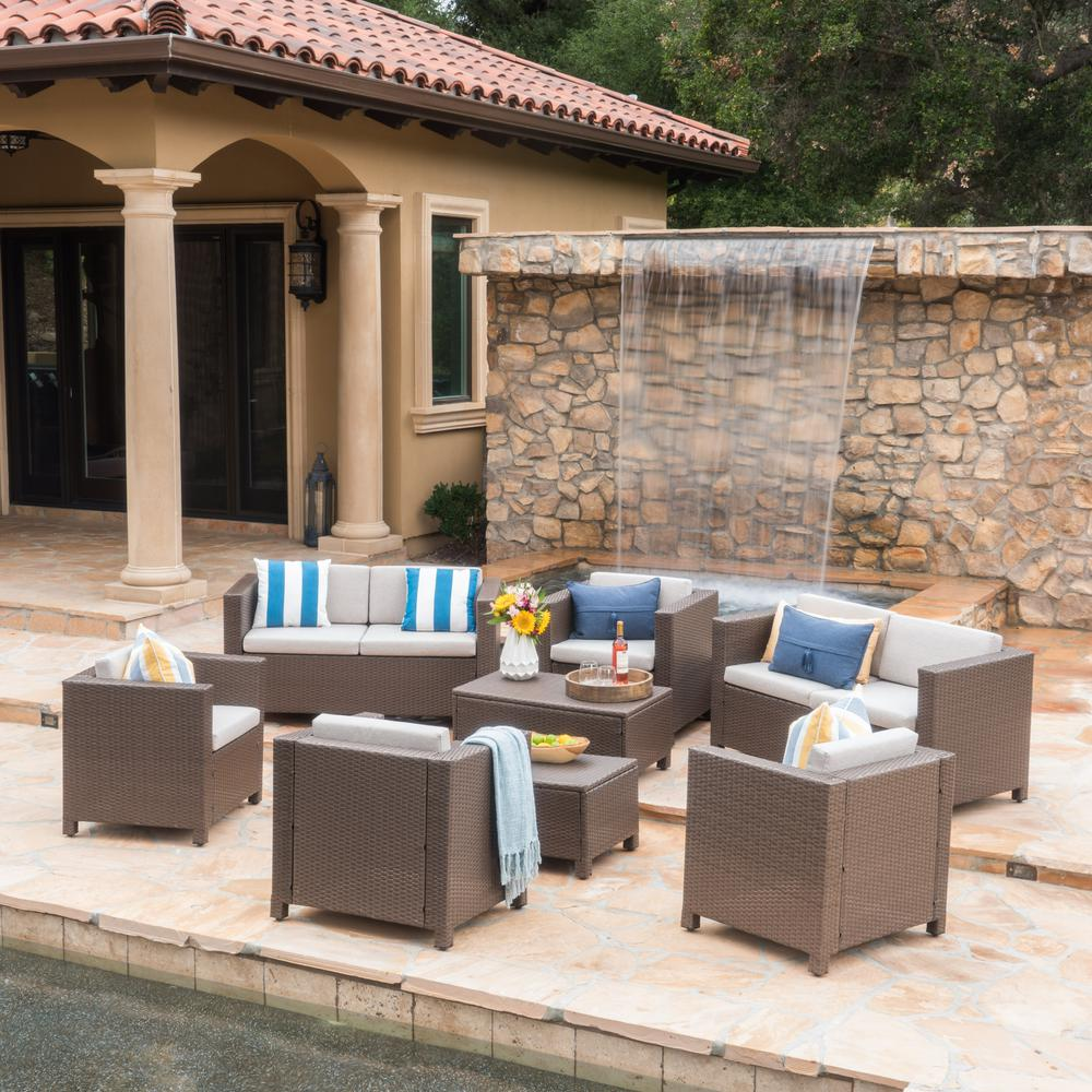 Noble House Puerta Brown 8-Piece Wicker Patio Conversation Set with Ceramic Grey Cushions
