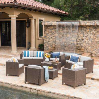 Puerta Brown 8-Piece Wicker Patio Conversation Set with Ceramic Grey Cushions