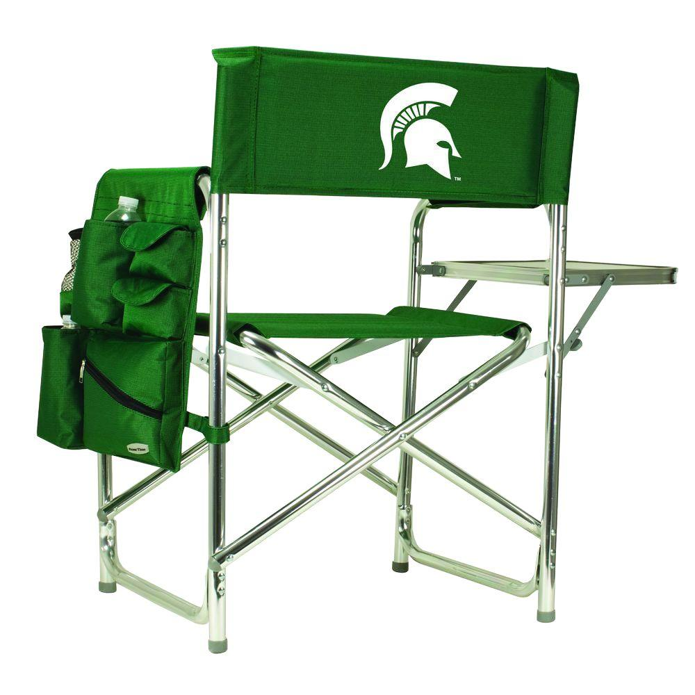 Picnic Time Michigan State University Hunter Green Sports Chair with Digital Logo
