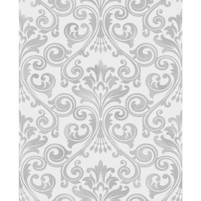 56.4 sq. ft. Wentworth Grey Damask Wallpaper