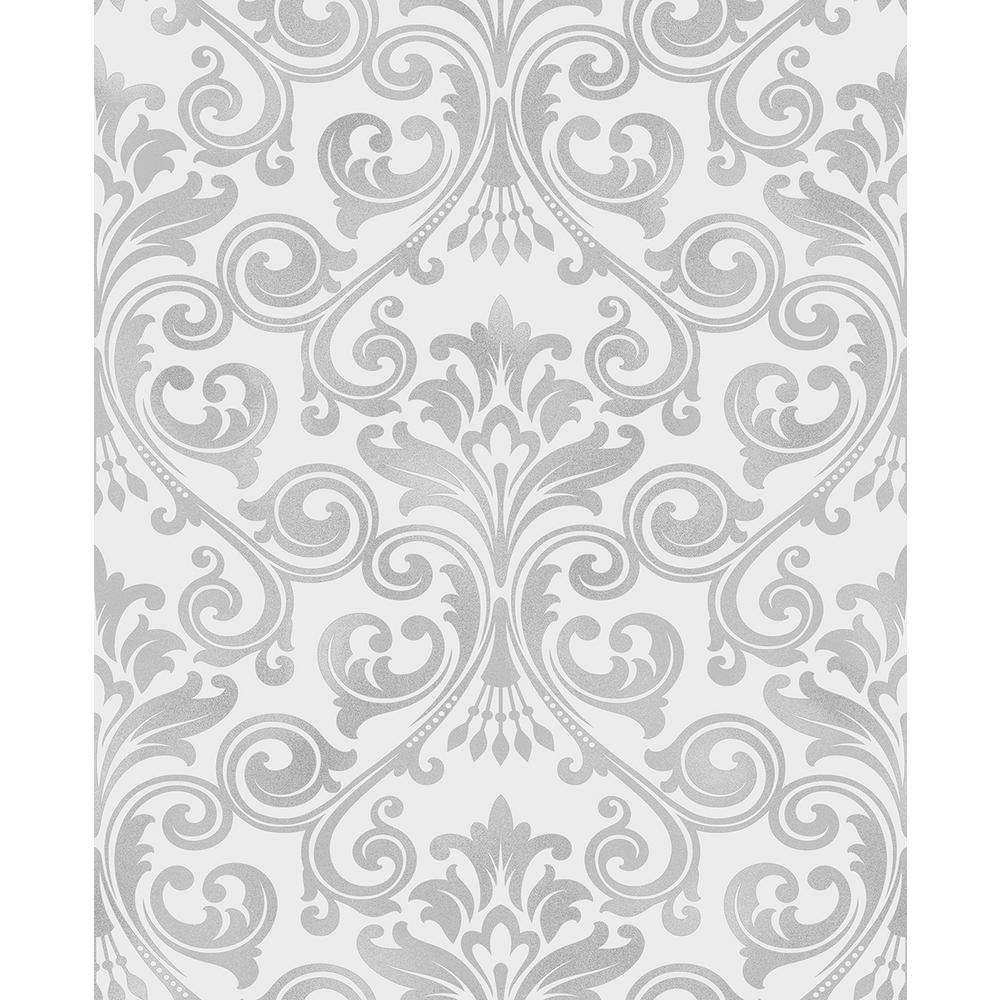 Wentworth Grey Damask Wallpaper
