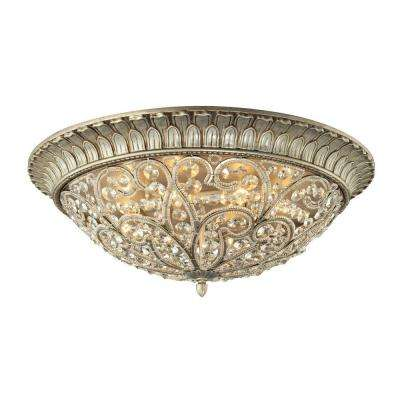 Valentino Collection 8-Light Aged Silver Flushmount