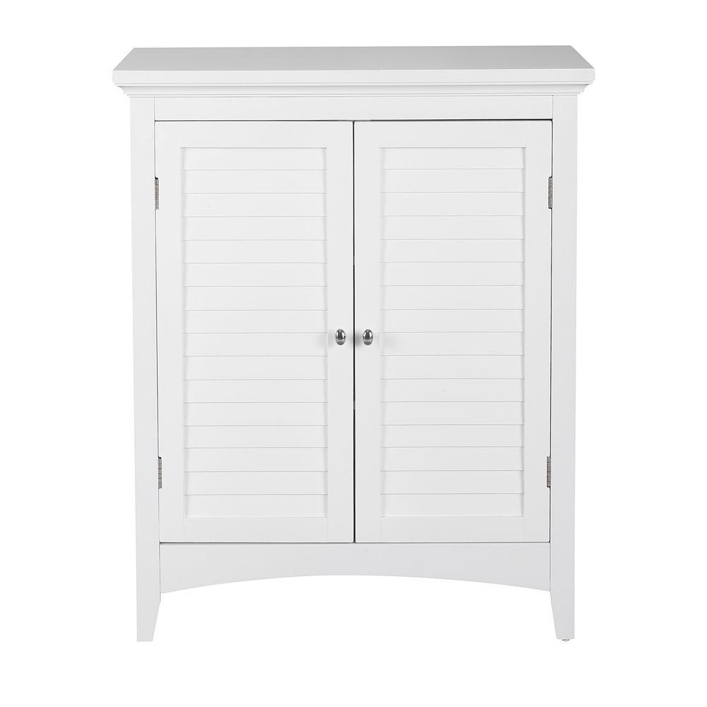 Astounding Elegant Home Fashions Simon 26 In W X 13 In D X 32 In H Bathroom Linen Storage Floor Cabinet With 2 Shutter Doors In White Interior Design Ideas Clesiryabchikinfo