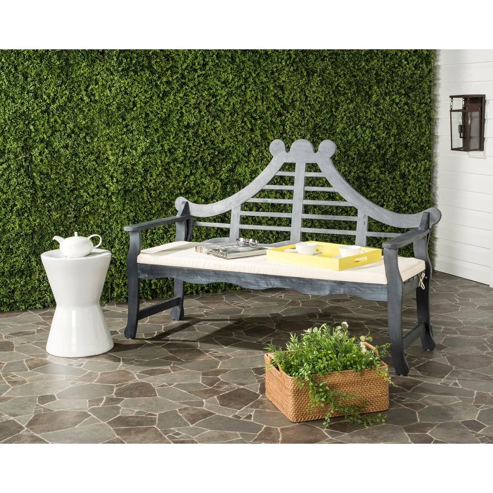 Azusa Outdoor Acacia Patio Bench with Beige Cushions
