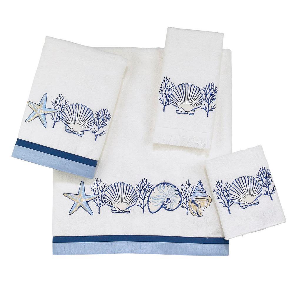 Nassau 4-Piece White Geometric Cotton Bath Towel Set