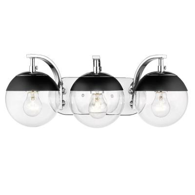 Dixon 12 in. 3-Light Chrome with Clear Glass and Black Cap Bath Vanity Light