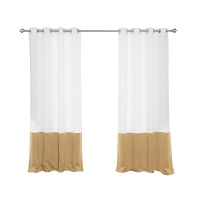 Oxford Outdoor 52 in. W x 96 in. L Colorblock Curtains in Wheat (2-Pack)