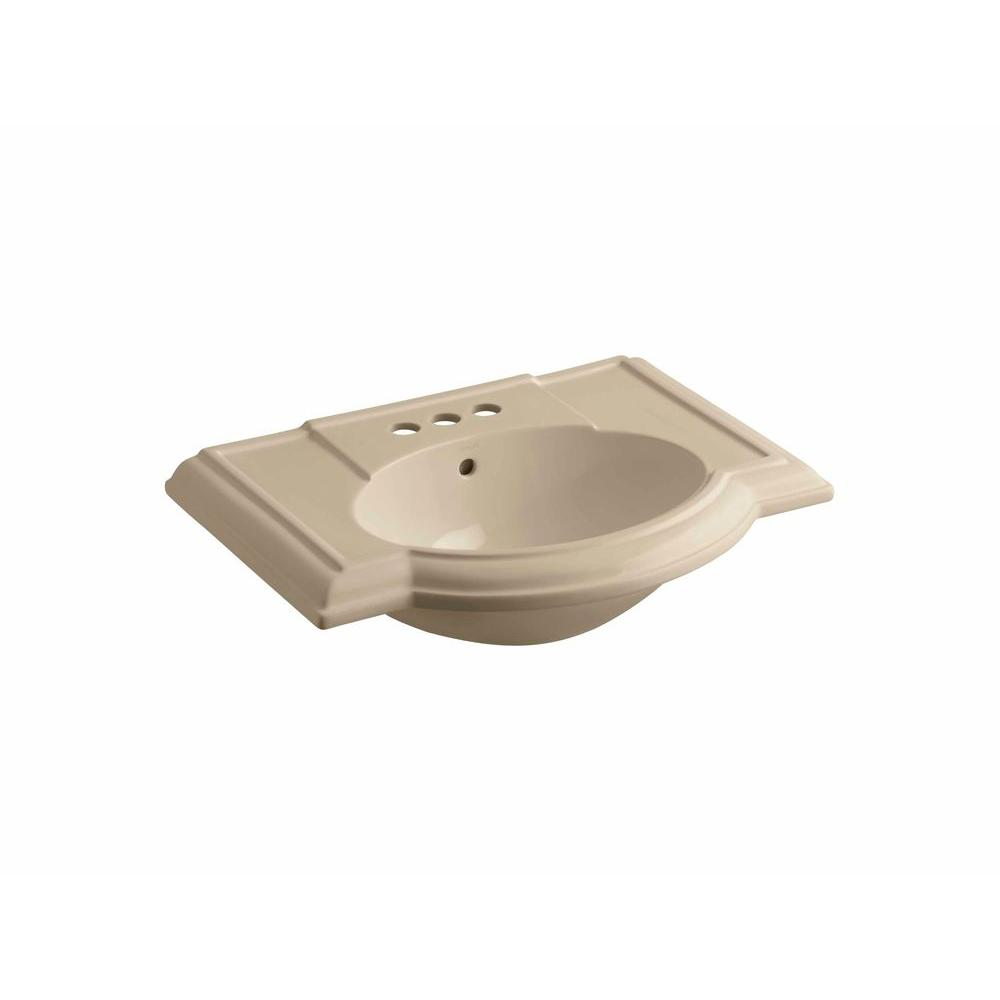 KOHLER Devonshire 4-7/8 in. Vitreous China Pedestal Sink Basin in Mexican Sand with Overflow Drain