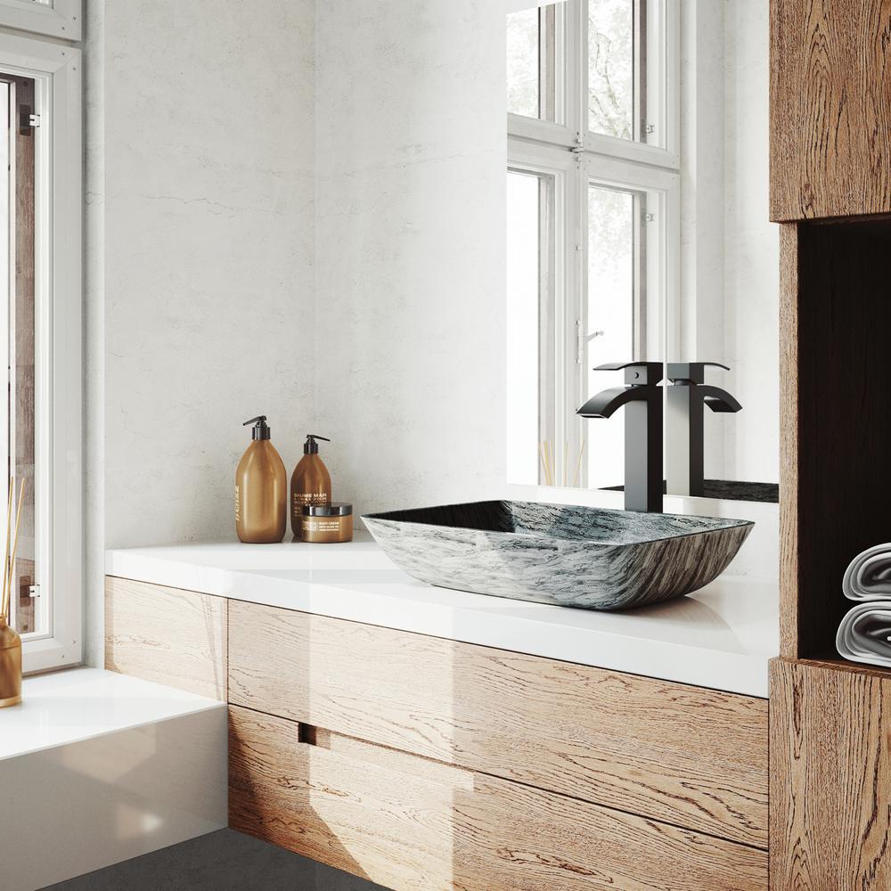 Rectangular Titanium Glass Vessel Bathroom Sink Set With Duris Vessel Faucet In Matte Black