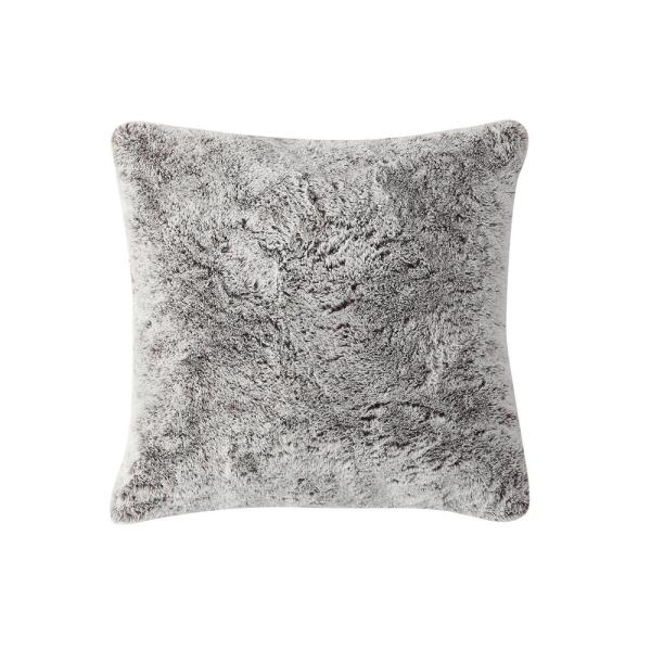 Morgan Home Millburn Faux Fur Taupe Solid Faux Fur Polyester in. x 18 in. Throw Pillow
