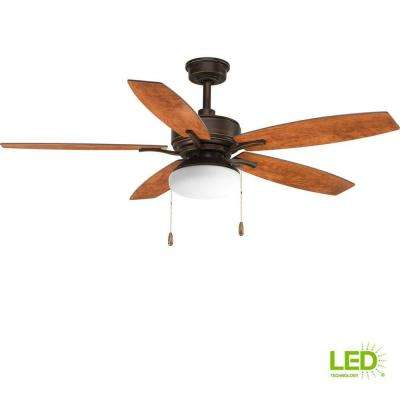 Billows Collection 52 in. LED Indoor Antique Bronze Rustic Ceiling Fan with Light Kit