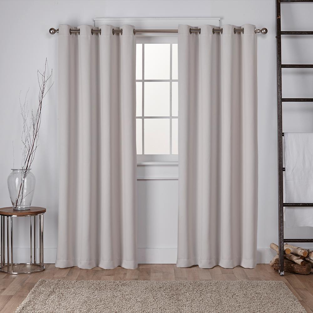Sateen 52 in. W x 84 in. L Woven Blackout Grommet Top Curtain Panel in Silver (2 Panels)