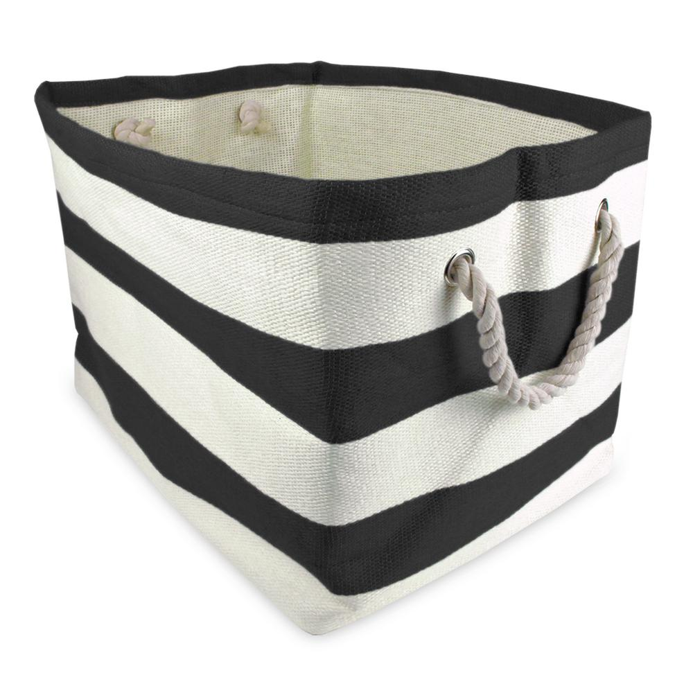 Rectangle Woven Paper Stripe Decorative Bin, Black