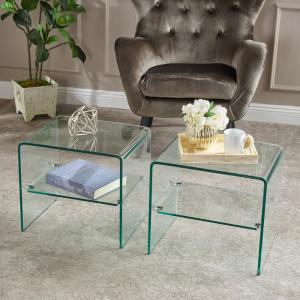 Noble House Clear Tempered Glass End Tables (Set of 2) 6461 ...